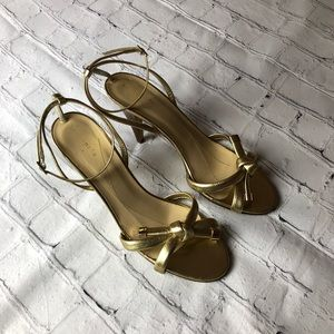 Kate Spade Gold Strappy Sandals heels Size 9